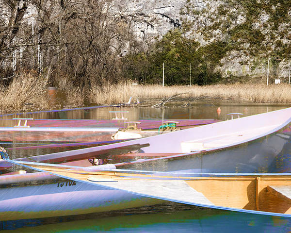 Boat Reflections Poster featuring the photograph Deux Canoes by Mary Mansey