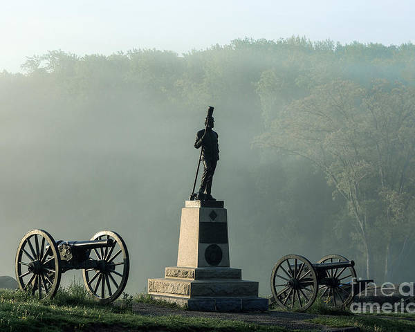 4th New York Independent Battery Poster featuring the photograph Devil's Den Monument At Gettysburg by John Greim