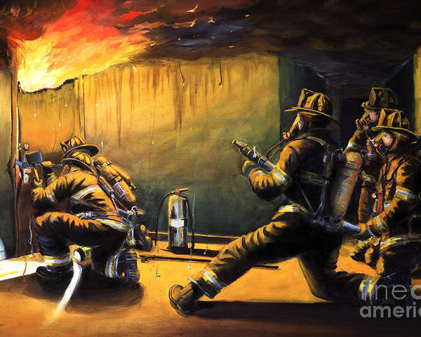 Firefighting Poster featuring the painting Devil's Doorway II by Paul Walsh