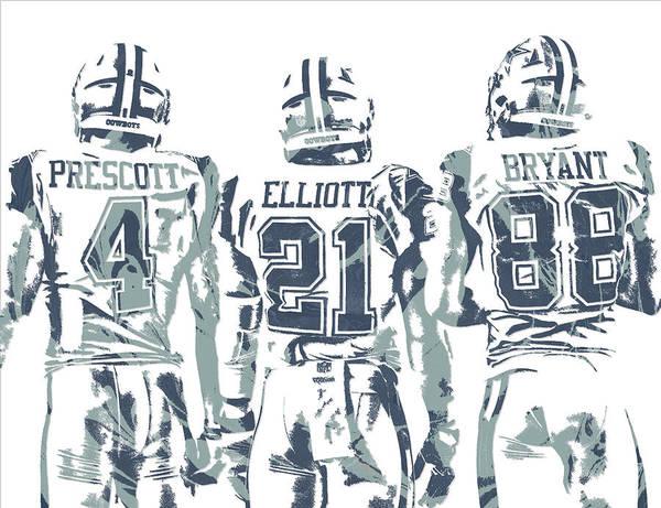 85d2a59fc62df6 Dez Bryant Ezekiel Elliott Dak Prescott Dallas Cowboys Pixel Art Poster by  Joe Hamilton