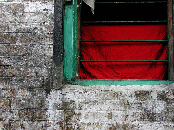 Red Poster featuring the photograph Dharamsala Window by Skip Hunt