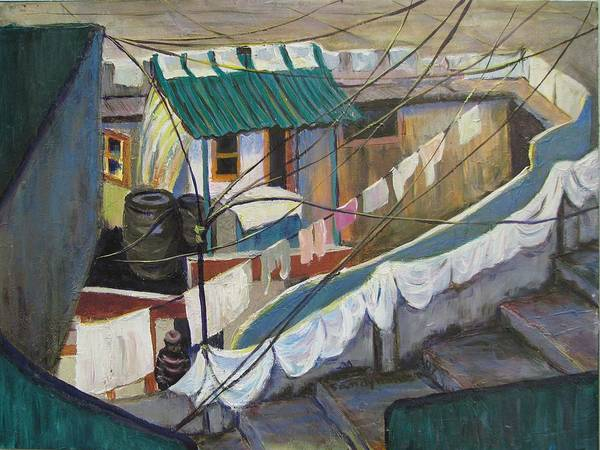 Landscape Poster featuring the painting Dhobi by Art Nomad Sandra Hansen