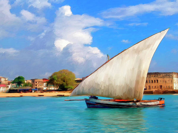 Dhow Off Zanzibar Poster featuring the painting Dhow Off Zanzibar by Dominic Piperata
