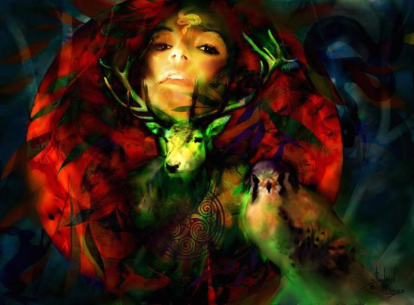 Spiritual Poster featuring the digital art Dianas Blood Moon by Stephen Lucas