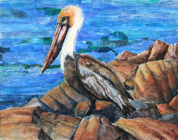 Poster featuring the painting Dick The Pelican by Patricia Allingham Carlson