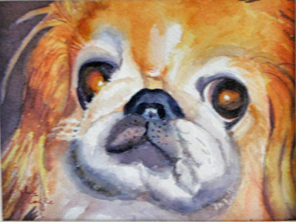 Pet Portrait Poster featuring the painting Dickens by Libby Cagle