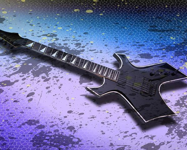String Poster featuring the photograph Digital-art E-guitar II by Melanie Viola
