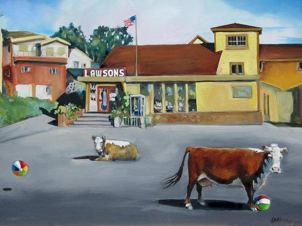 Cows Poster featuring the painting Dillion Beach Cows by Kathryn LeMieux