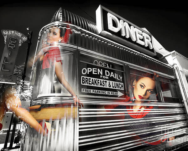 Diner Poster featuring the photograph Diner Views by John Rizzuto