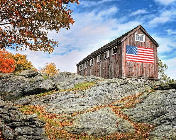 Vintage Poster featuring the photograph Display Of Colors - Roxbury Barn by Thomas Schoeller