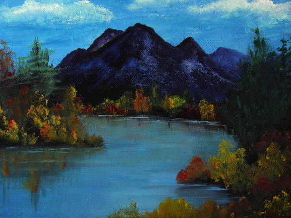 Mountain Poster featuring the painting Distant Mountain View by Rhonda Myers