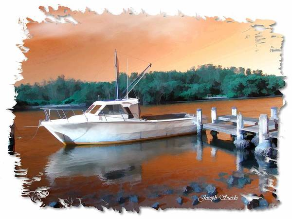Boat Poster featuring the photograph Do-00108 Boat At Sunset by Digital Oil