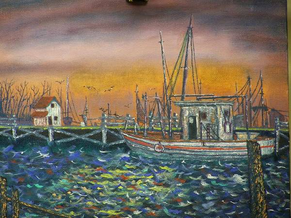Landscape Poster featuring the painting Dockside by Charles Vaughn
