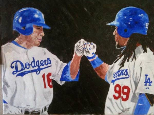 Baseball Poster featuring the painting Dodgers Duo by Daryl Williams Jr