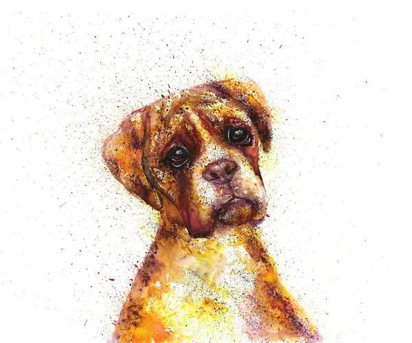Dog Painting Poster featuring the painting Dog bulldog portrait by Natalja Picugina