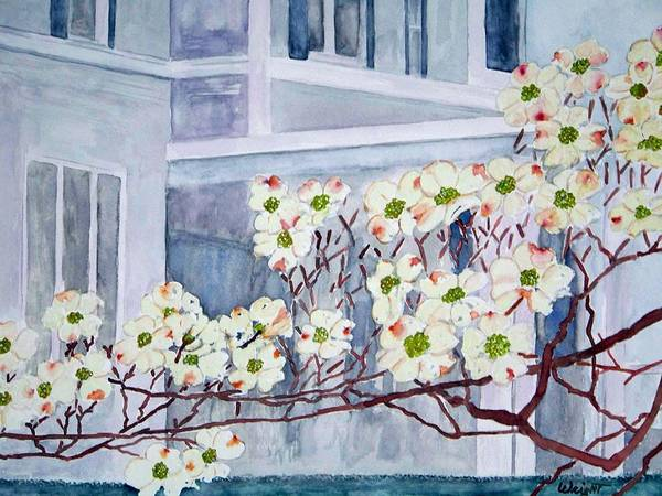 Architecture Poster featuring the painting Dogwood Time In Oldtown by Larry Wright