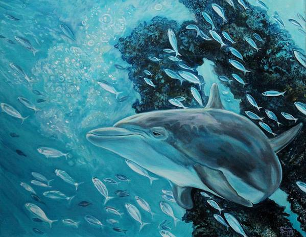 Underwater Scene Poster featuring the painting Dolphin With Small Fish by Diann Baggett