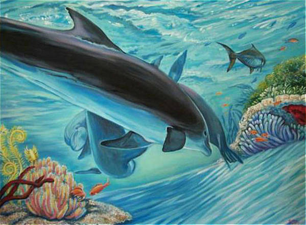 Underwater Scene Poster featuring the painting Dolphins At Play by Diann Baggett