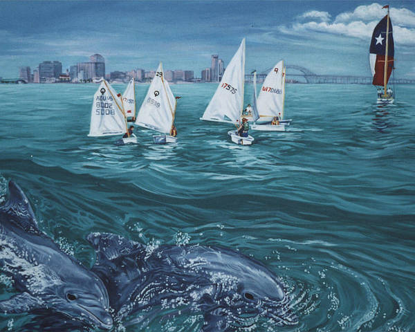 Dolphins Poster featuring the painting Dolphins In Corpus Christi Bay by Diann Baggett