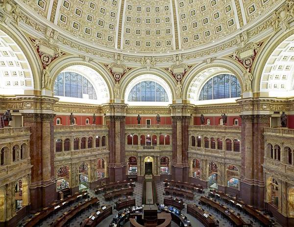 History Poster featuring the photograph Domed Main Reading Room by Everett