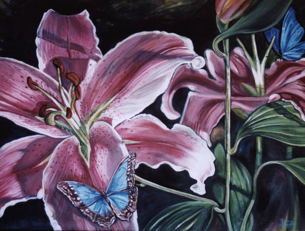 Floral Poster featuring the painting Donna's Flowers by Diann Baggett