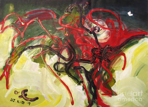 Abstract Paintings Paintings Abstract Art Paintings Poster featuring the painting Don't Bother Me by Seon-Jeong Kim
