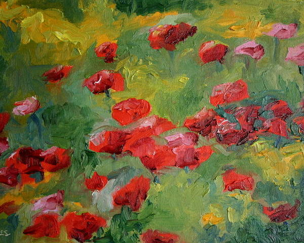 Landscape Poster featuring the painting Door County Poppies by Martha Layton Smith