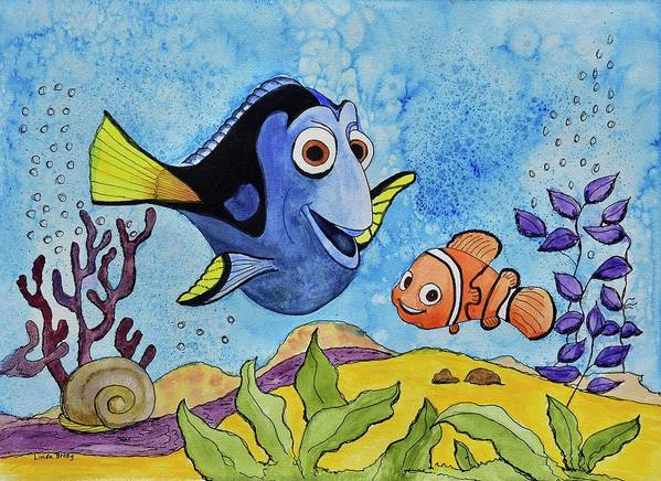 Linda Brody Poster featuring the painting Dori And Nemo by Linda Brody