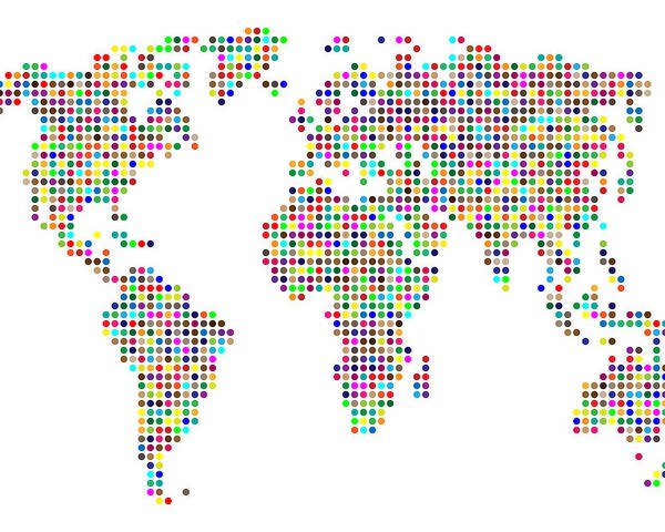 Map Poster featuring the digital art Dot Map Of The World - Colour On White by Michael Tompsett