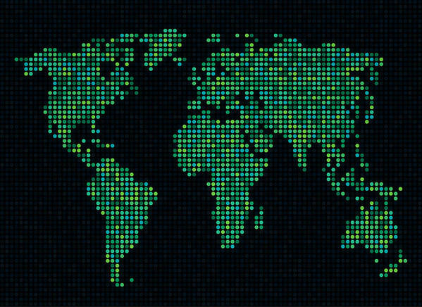 Map Poster featuring the digital art Dot Map Of The World - Green by Michael Tompsett