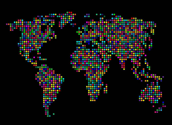Map Poster featuring the digital art Dot Map Of The World - Multi Colours by Michael Tompsett