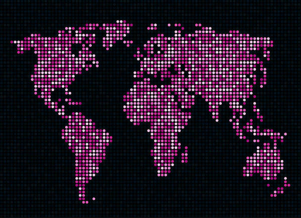 Map Poster featuring the digital art Dot Map Of The World - Pink by Michael Tompsett