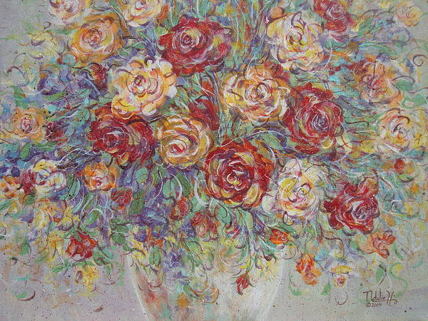 Flowers Poster featuring the painting Double Delight. by Natalie Holland