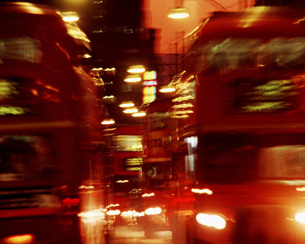 Bus Poster featuring the photograph Doubledecker Bus Blur London by Brad Rickerby
