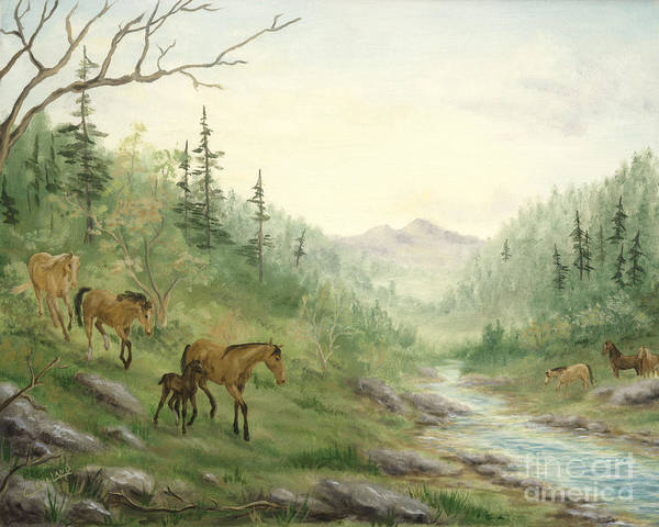 Horse Poster featuring the painting Down To Water by Cathy Cleveland