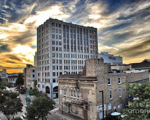 Appleton Poster featuring the photograph Downtown Appleton Skyline by Mark David Zahn Photography
