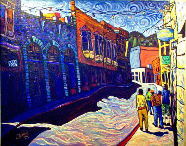 Downtown Poster featuring the painting Downtown Bisbee by Steve Lawton
