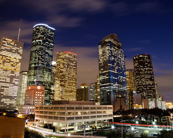 Architecture Poster featuring the photograph Downtown Houston At Night by Olivier Steiner