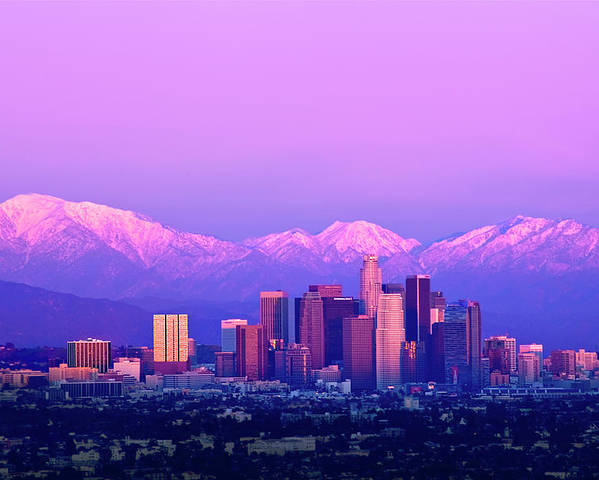 Horizontal Poster featuring the photograph Downtown Los Angeles In Winter by Andrew Kennelly