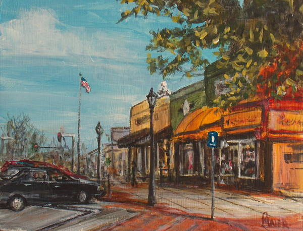Cityscape Poster featuring the painting Downtown by Pete Maier