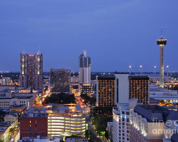 Architecture Poster featuring the photograph Downtown San Antonio At Night by Jeremy Woodhouse