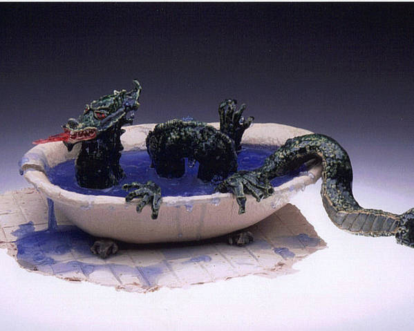 Dragon Poster featuring the ceramic art Dragon Bath by Doris Lindsey