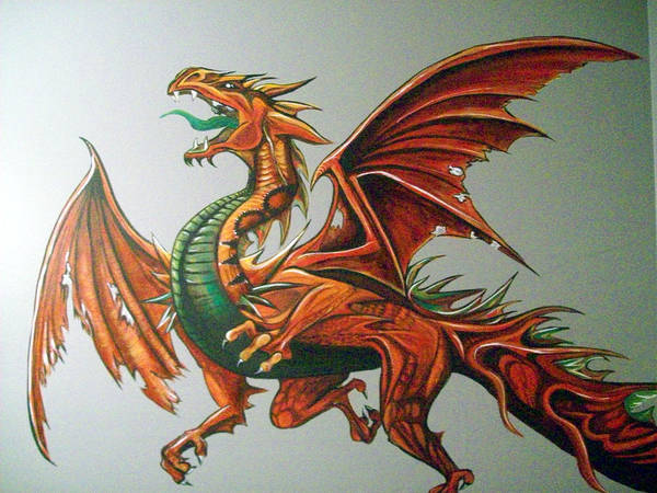 Dragon Poster featuring the painting Dragon by Lori Ulatowski