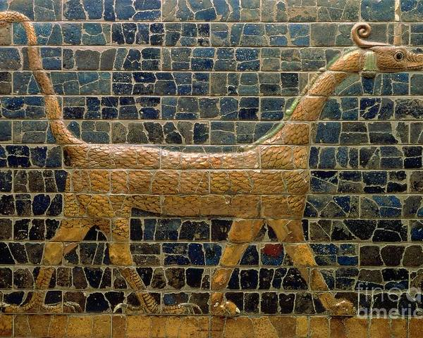 Dragon Poster featuring the photograph Dragon Of Marduk - On The Ishtar Gate by Anonymous