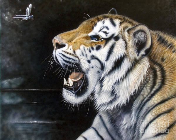 Tiger Poster featuring the painting Dragonfly by Sandi Baker