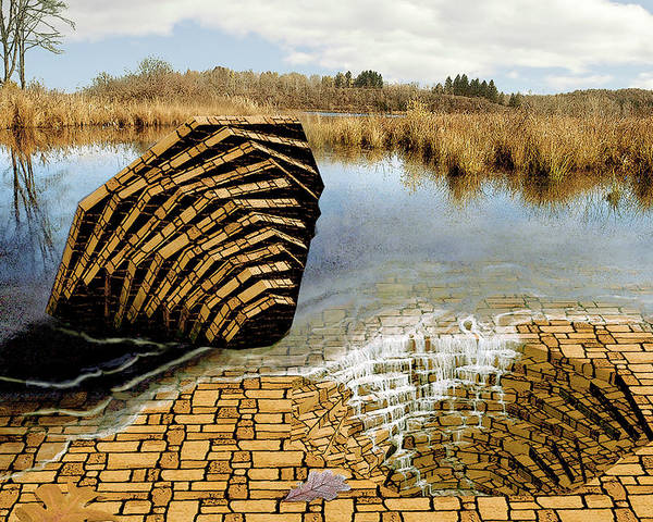 Drain Poster featuring the digital art Drain - Mendon Ponds by Peter J Sucy