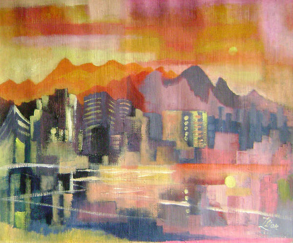 Abstract Poster featuring the painting Dream City No.3 by Lian Zhen
