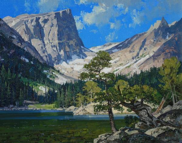 Landscape Poster featuring the painting Dream Lake by Lanny Grant