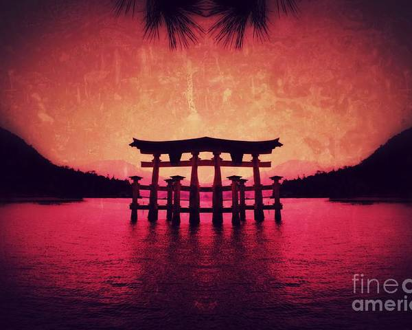 Miyajima Poster featuring the pyrography Dream of Japan by HELGE Art Gallery