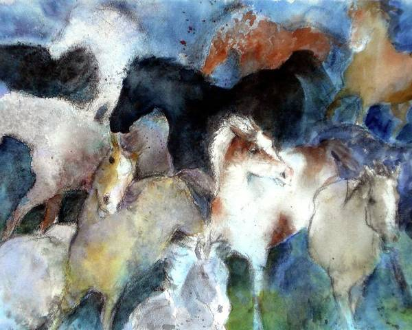 Horses Poster featuring the painting Dream Of Wild Horses by Christie Michelsen